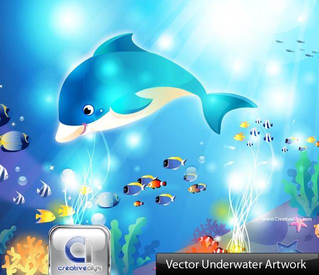 Free Comic Style Aquatic Underwater Scene