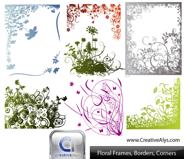 Free Floral Frame Border and Corner Pack