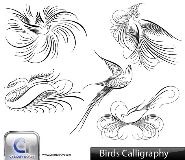 Free Creative Calligraphic Bird Pack