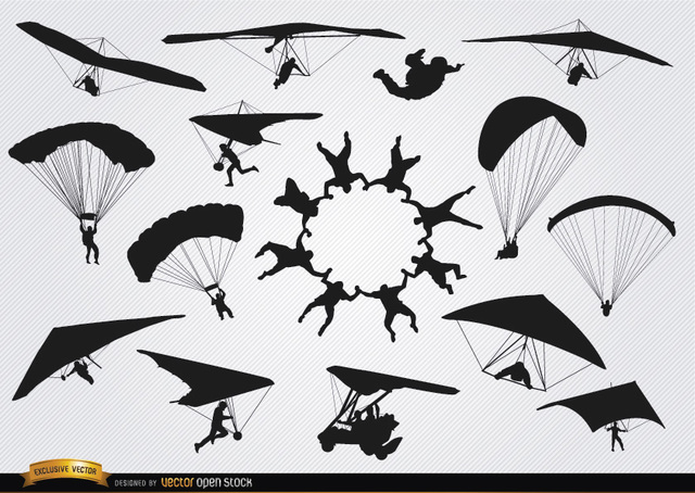 Free Parachutes and paragliders skydiving silhouettes