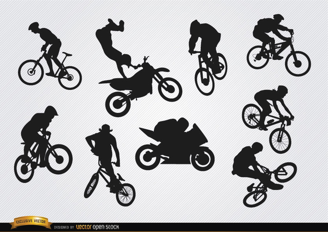 Free Bicycle motocross BMX silhouettes
