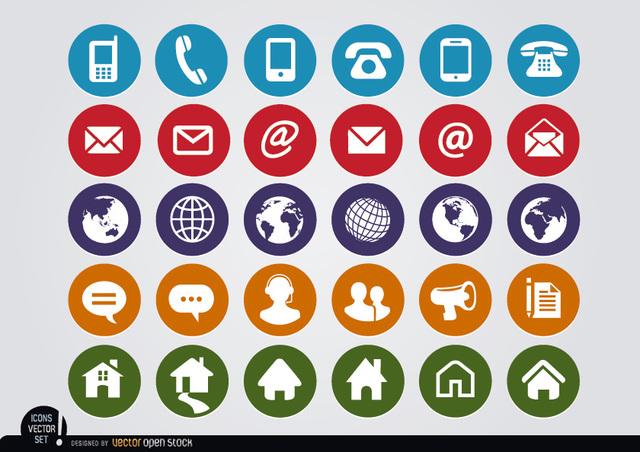 Free Round web contact icons set
