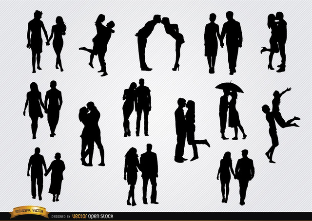 Free Couples in love silhouettes set