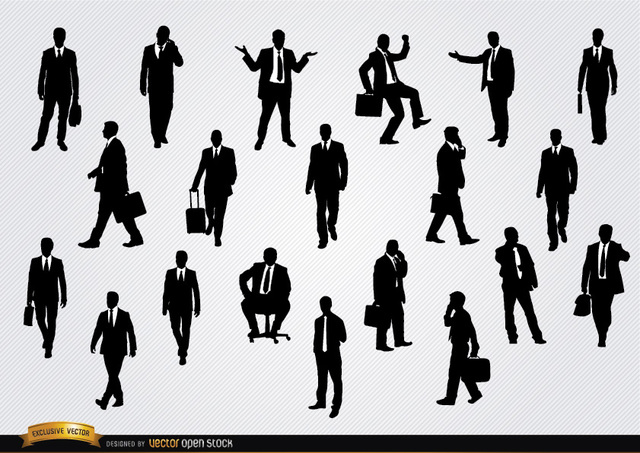 Free Businessmen in different situations silhouettes