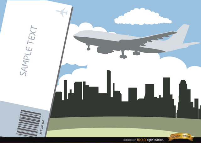 Free Airplane flying city skyline and ticket