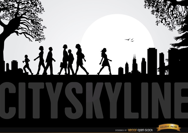 Free City Skyline with People Walking