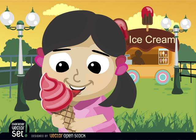 Free Girl eating ice cream cone in park