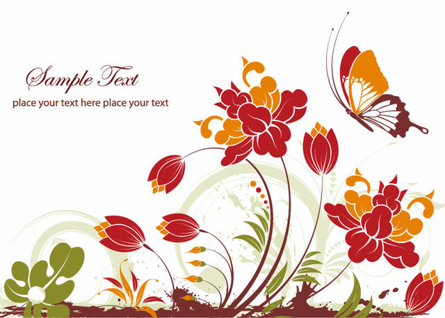 Free Abstract Flower Plants with Decorative Butterfly