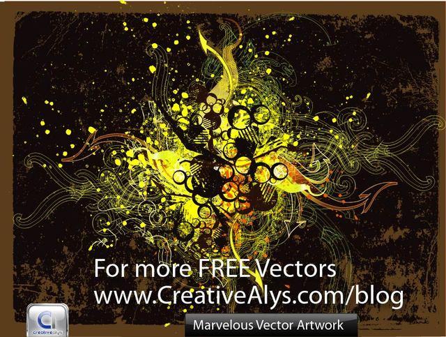 Free Marvelous Grungy Swirls & Splatters Background