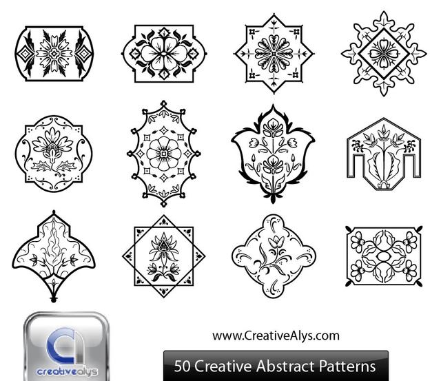 Free Black & White Abstract Floristic Ornament Set