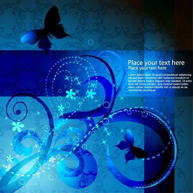 Free Blue Swirls Abstract Background with Butterfly