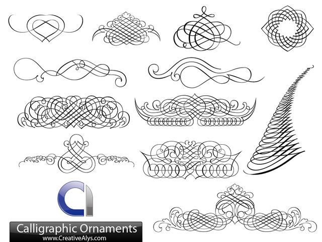 Free Creative Calligraphic Ornament Set