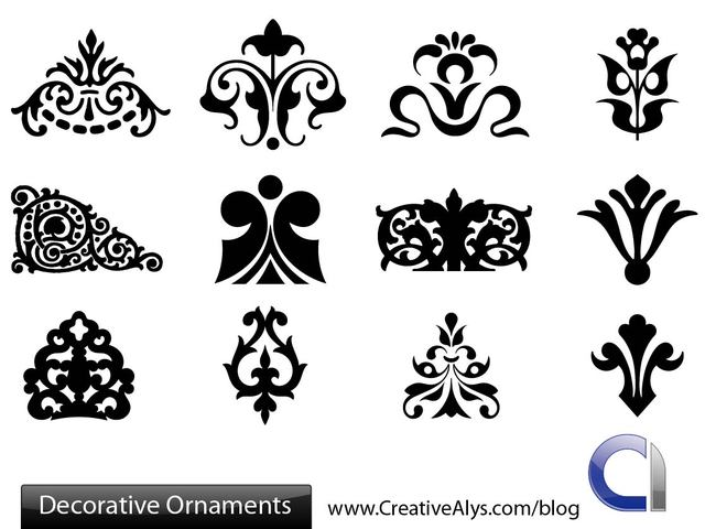 Free Decorative Silhouette Floral Ornament Set