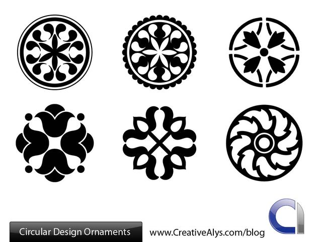 Free Black & White Circular Ornament Pack