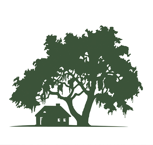Free House & Oak Tree Silhouette Landscape
