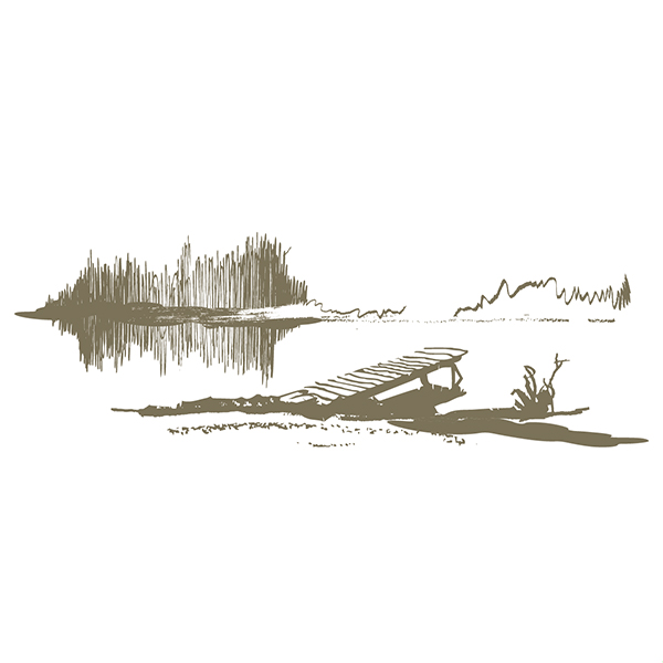 Free Abstract Lake & Dock Landscape Sketch