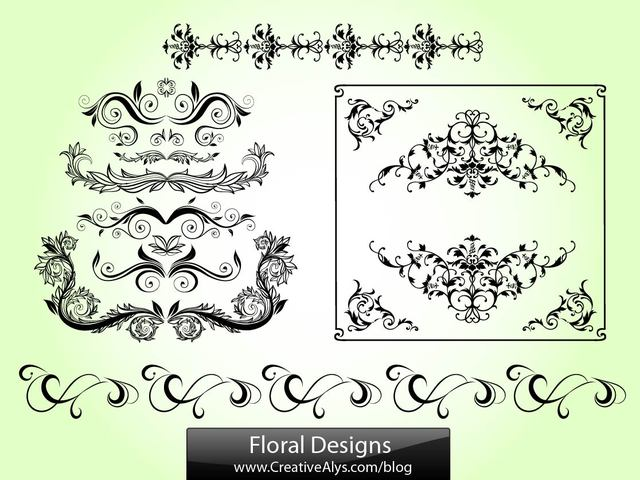 Free Floral Swirls and Ornament Pack