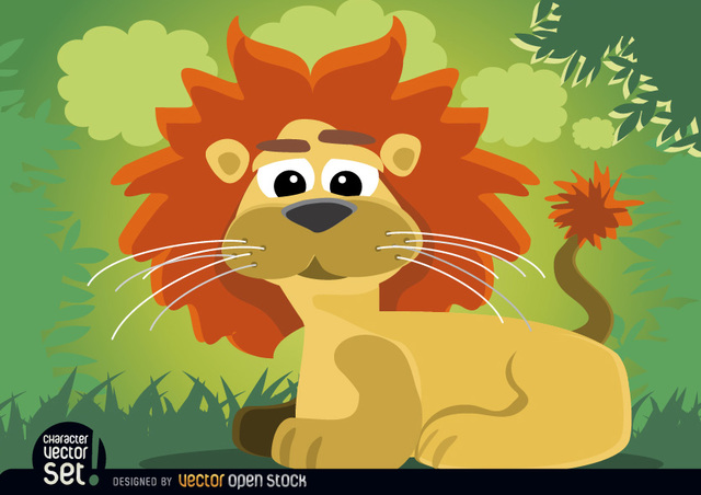 Free Cartoon lion animal sitting in jungle