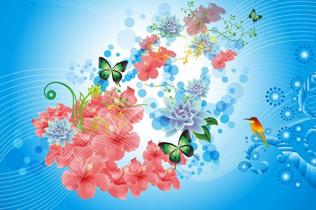 Free Spring Flower Background with Lines and Bird