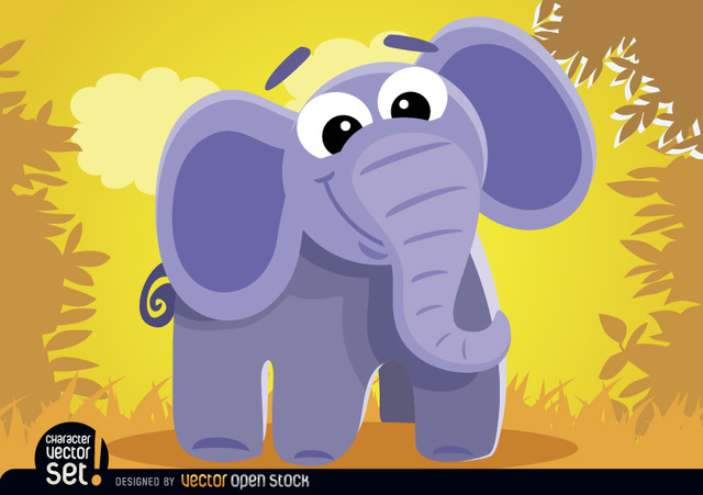 Free Cartoon elephant in the jungle