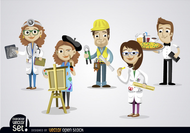 Free People working in different jobs