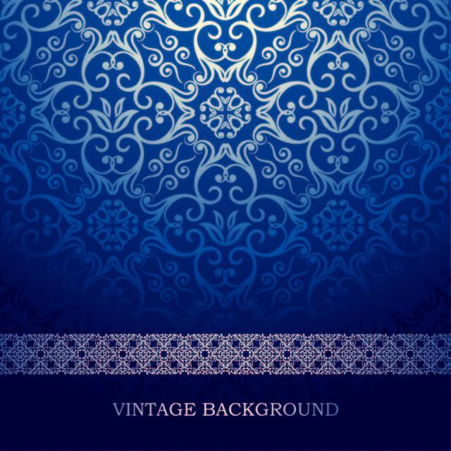 Free Blue Vintage European Floral Pattern