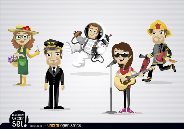 Free Cartoon characters with different professions