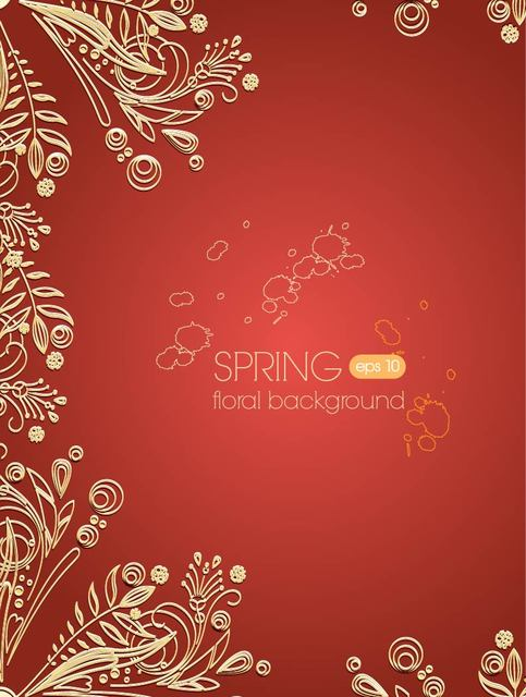 Free Golden Floral Ornament on Paprika Background