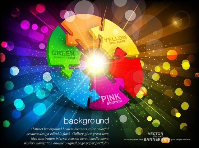 Free Fluorescent Vivid Arrow Wheel Background