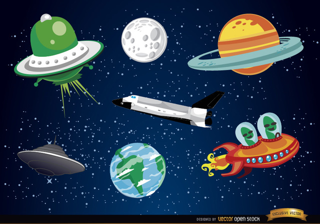 Free Outer space cartoon elements
