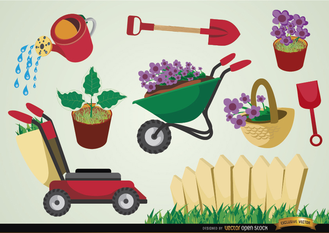 Free Vectors: Gardening tools and plants set | Vector Open Stock