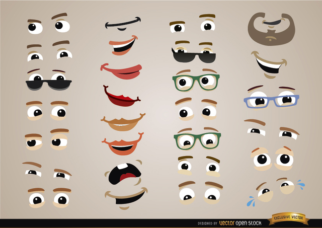 Free Eyes and mouths expressions set