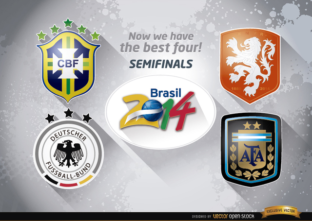 Free Vectors: Brazil 2014 semi-finals teams | Vector Open Stock