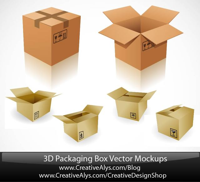 Free 3D Paper Board Packaging Box Set