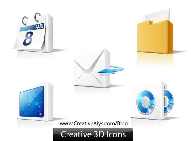 Free Glossy 3D Web Element Icon Set