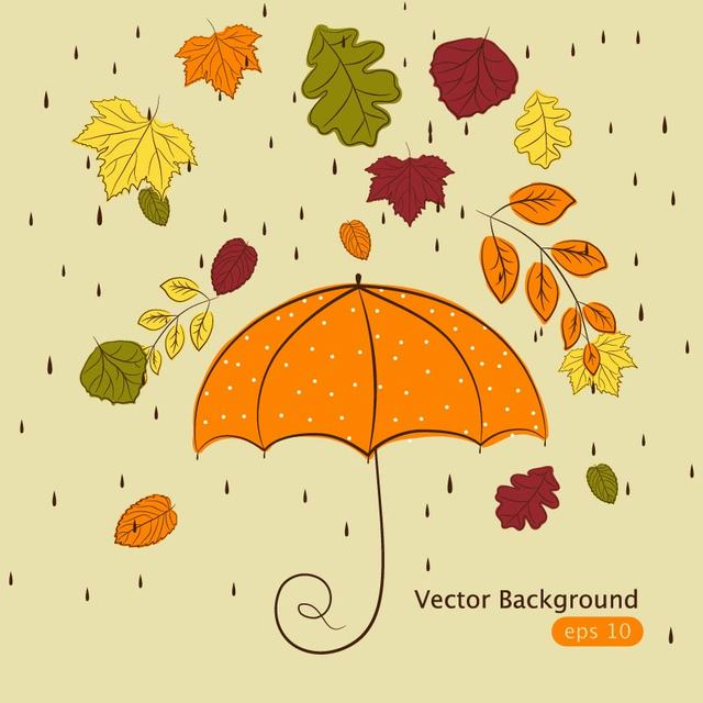 Free Funky Hand Drawn Autumn Leaves with Rain