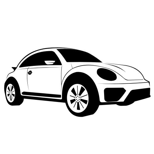 Free Hand Traced Black & White Volkswagen Dune Sketch