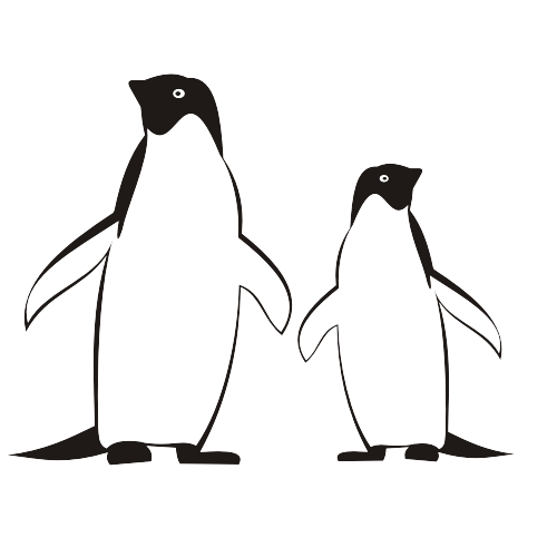 Free Line Traced Black & White Penguins