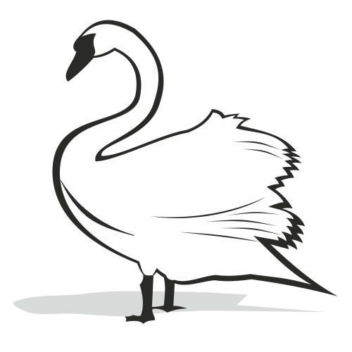 Free Black and White Swan Silhouette