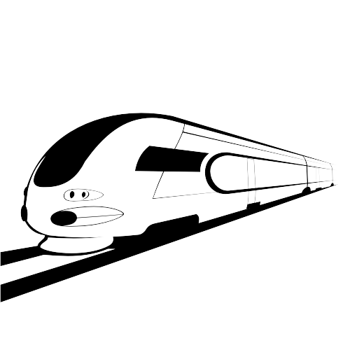 Free Abstract Sketch Black & White Bullet Train