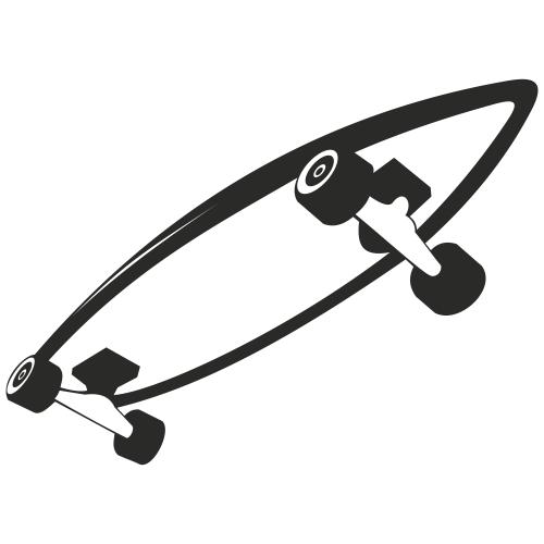 Free Black & White Roller Skateboard Sketch