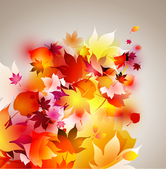 Free Vectors: Glowing Autumn Leaves Background | Vector Background