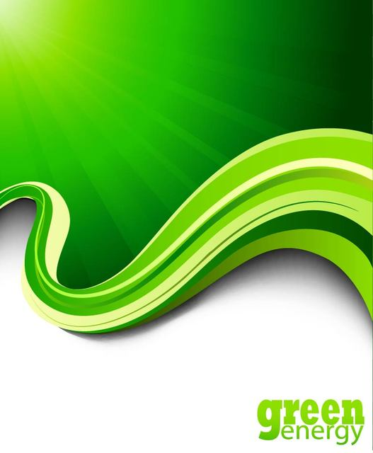 Free Green Energy Rays Wavy Edge Background