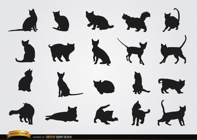 Free Cat breeds silhouettes set