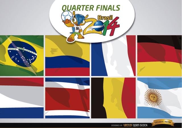 Free Vectors: Brasil 2014 Teams for quarter finals | Vector Open Stock