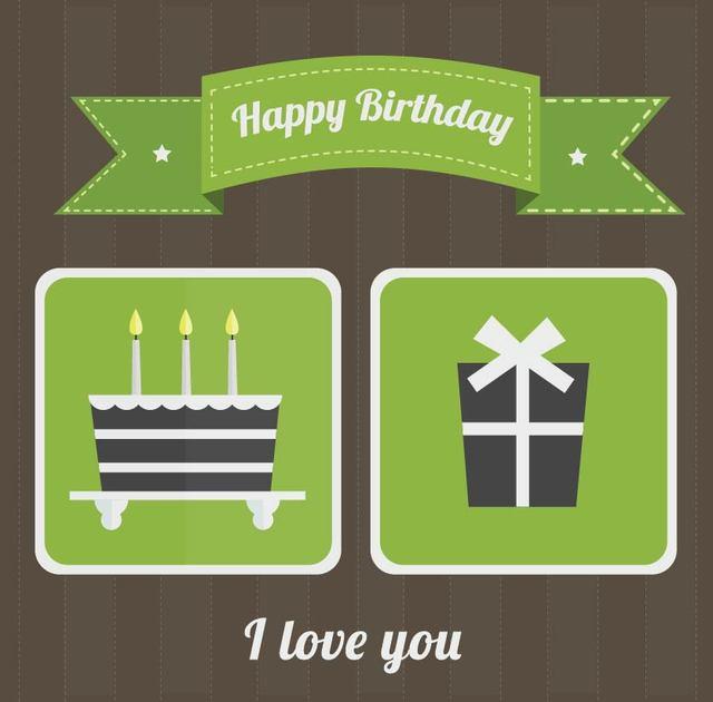 Free Flat Green Retro Birthday Card