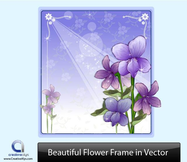 Free Purple Flower Frame with Ornaments