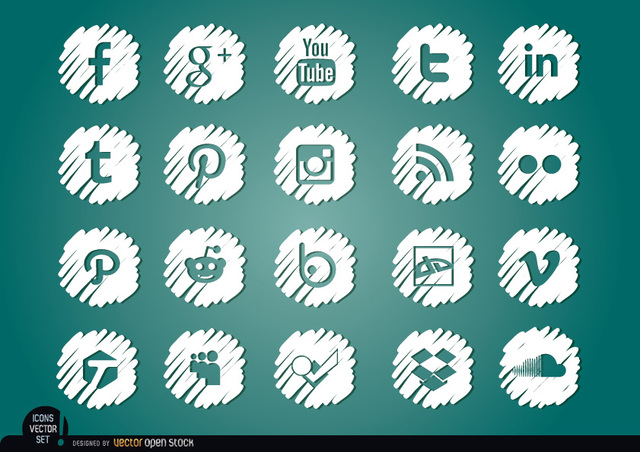 Free Vectors: Social media distorted white icons set | Vector Open Stock