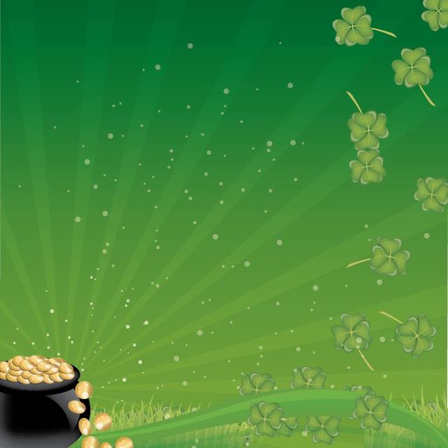 Free Pot of Gold Coins with Clovers