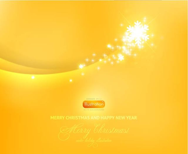 Free Yellow Christmas Background with Snowflakes